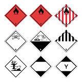 Gevarenetiketten voor transport van gevaarlijke producten