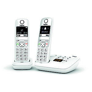 Gigaset Téléphone sans fil AS690A Duo avec répondeur - Blanc