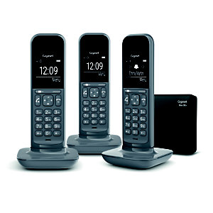Gigaset Téléphone sans fil CL390A pack trio avec répondeur gris foncé