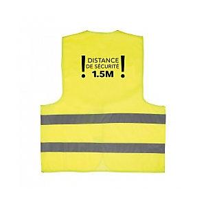 """Gilet jaune de sécurité avec marquage gestes barrière """"Distance de sécurité 1.5M"""""""