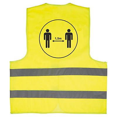 """Gilet de sécurité distanciation sociale 1,5 m##Warnschutzweste mit Aufdruck """"1,5 m"""""""