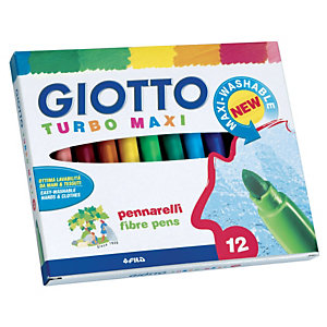"""GIOTTO Astuccio pennarelli """" Turbo Maxi"""" - Colori assortiti (confezione 12 pezzi)"""