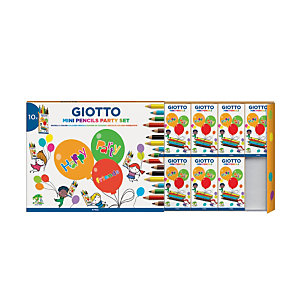 GIOTTO Party set Mini Pencils, 10 astucci regalo da 6 mini matite colorate