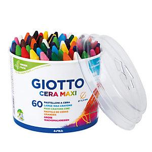 GIOTTO Pastelli cera maxi - lunghezza 100mm Ø11,50mm - Giotto - barattolo 60 pastelli