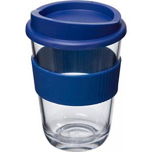Gobelet style verre transparent avec grip et couvercle - Bleu