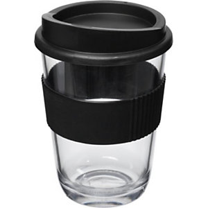 Gobelet style verre transparent avec grip et couvercle - Noir