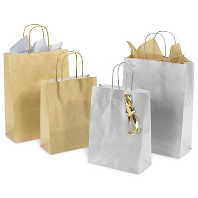 Sac kraft or et argent##Goud- en zilverkleurige draagtas uit kraftpapier