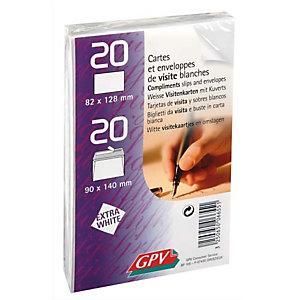 GPV Paquet de 20 cartes de visite + 20 enveloppes autoadhésive format 90x140 mm