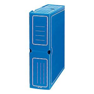 GRAFOPLAS Caja Archivo Definitivo Polipropileno Folio Prolongado, Tapa fija, Azul, 360 x 95 x 263 mm