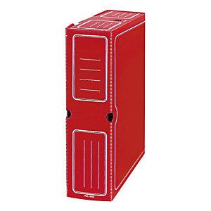 GRAFOPLAS Caja Archivo Definitivo Polipropileno Folio Prolongado, Tapa fija, Rojo, 360 x 95 x 263 mm