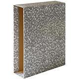 GRAFOPLAS Cajetín para archivador, Folio, Lomo 82 mm, Cartón forrado, Gris jaspeado