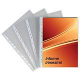 GRAFOPLAS Extra Funda perforada, A4, polipropileno de 70 micras, 11 orificios, rugosa, transparente