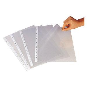 GRAFOPLAS Funda perforada, A4, polipropileno de 100 micras, 11 orificios,  apertura lateral interna, rugosa, transparente