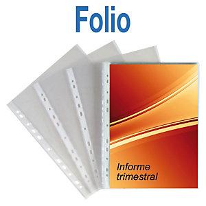 GRAFOPLAS Funda perforada, Folio, polipropileno de 70 micras, 16 orificios, lisa, transparente