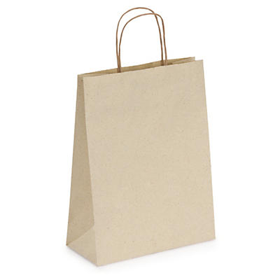 Grass fibre paper carrier bags