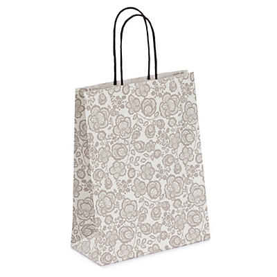 Grey floral patterned Kraft paper carrier bags