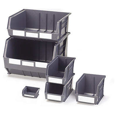 Grey louvred plastic storage bins