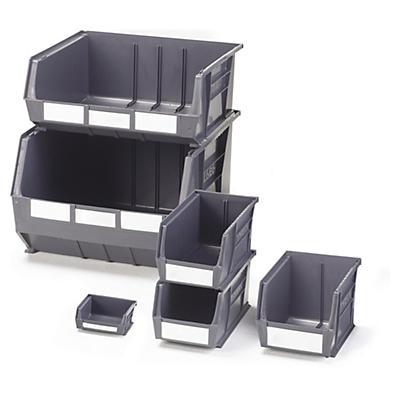 Grey louvred plastic storage bins