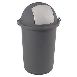Grijze koepelvormige vuilnisbak50 L.