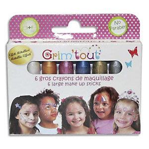 GRIM TOUT Boîte de 6 crayons jumbo, couleurs métalliques - Dimensions d'un crayon : 5,5 cm L x 1 cm diam