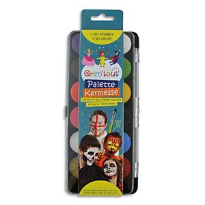GRIM TOUT Set de 12 Galets de maquillage à l'eau+ pinceau, normes cosmétiques, nettoyage eau et savon