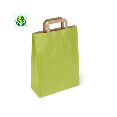Grüne Tragetaschen mit Papierhenkeln - RESTPOSTEN