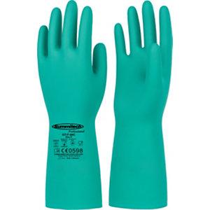 Guanti in nitrile interamente rivestito, Protezione chimica e microbiologica, Taglia 7, Verde (confezione 12 paia)