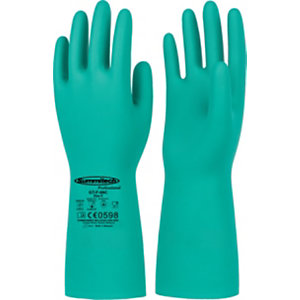 Guanti in nitrile interamente rivestito, Protezione chimica e microbiologica, Taglia 7, Verde