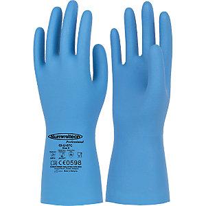 Guanti in nitrile per la manipolazione di alimenti, protezione chimica e microbiologica,Taglia 10, Blu (confezione 12 paia)