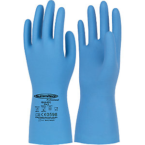 Guanti in nitrile per la manipolazione di alimenti, protezione chimica e microbiologica, Taglia 7, Blu (confezione 12 paia)