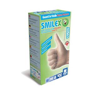 Guanti monouso Smilex Vinix in vinile senza polvere, Taglia S (6/6½), Bianco (confezione 100 pezzi)