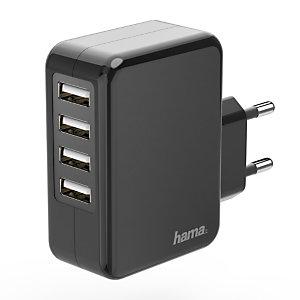 Hama Cargador USB de pared, 4x USB, 4,8 A, negro