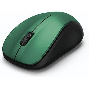 Hama MW-300 Ratón óptico inalámbrico, verde y negro