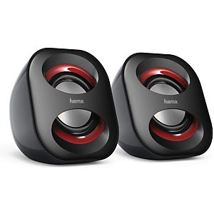 Hama Sonic Mobil 183 Altavoces para pc, negro y rojo