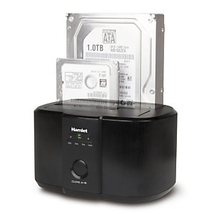 "HAMLET HXDD2535CLN Docking Station per Hard Disk 2,5"" e 3,5"", USB 3.0, Dual bay, Nero"