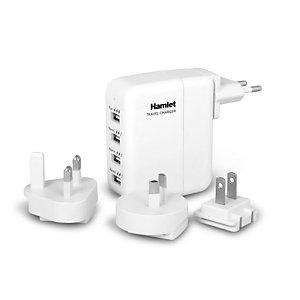 HAMLET Travel Charger, Alimentatore universale da parete con 4 porte USB, 100-240V AC