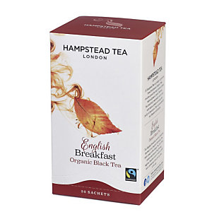 Hampstead Tea London Tè nero organico English Breakfast, 20 filtri