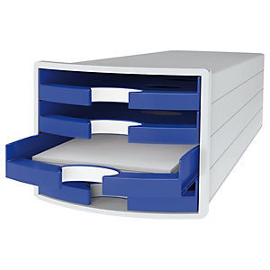 Han Impuls Cassettiera da scrivania, 4 cassetti aperti, Blu