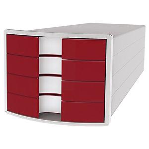 Han Impuls Cassettiera da scrivania, 4 cassetti chiusi, Rosso
