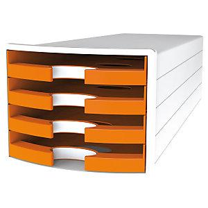 Han Impuls Trend Cassettiera da scrivania, 4 cassetti aperti, Arancio