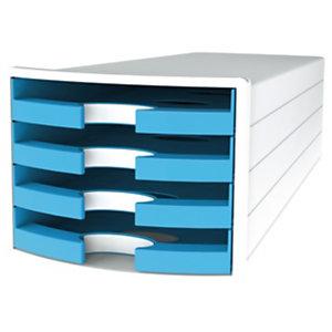 Han Impuls Trend Cassettiera da scrivania, 4 cassetti aperti, Blu chiaro