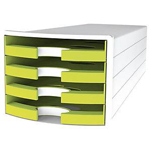 Han Impuls Trend Cassettiera da scrivania, 4 cassetti aperti, Limone