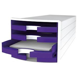 Han Impuls Trend Cassettiera da scrivania, 4 cassetti aperti, Viola