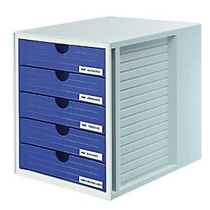 Han System Box Cassettiera da scrivania, 5 cassetti chiusi, Blu