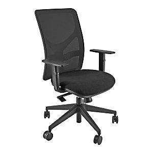 Happy Silla de oficina, malla y tela, altura 97-109 cm, negro