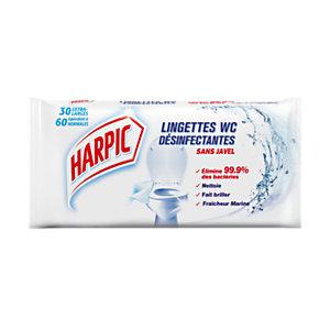 Harpic Lingettes WC désinfectantes - Sachet de 30 extra-larges