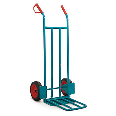 Heavy duty sack truck, fixed and folding toe plates