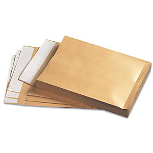 Herlitz 100 pochettes d'expédition avec souflettes lateraux, brun, sans fenêtre, C4