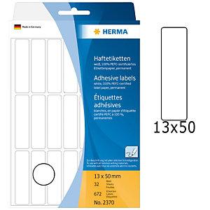 Herma Etiqueta de papel adhesiva permanente, 12 x 50mm, 32 hojas, 21 etiquetas por hoja, blanco