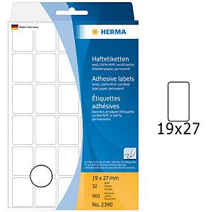 Herma Etiqueta de papel adhesiva permanente, 19 x 27mm, 32 hojas, 30 etiquetas por hoja, blanco